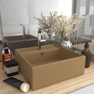 Lavatório luxuoso quadrado 41x41 cm cerâmica creme mate - PORTES GRÁTIS