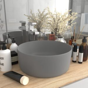 Lavatório luxuoso redondo 40x15 cm cerâmica cinzento-claro mate - PORTES GRÁTIS