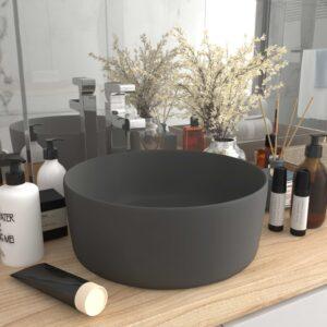 Lavatório luxuoso redondo 40x15cm cerâmica cinzento-escuro mate - PORTES GRÁTIS