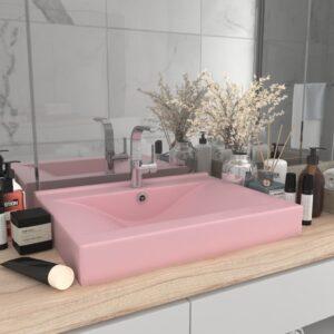 Lavatório c/ orifício de torneira 60x46 cm cerâmica rosa mate - PORTES GRÁTIS