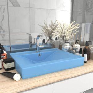 Lavatório c/ orifício torneira 60x46cm cerâmica azul-claro mate - PORTES GRÁTIS