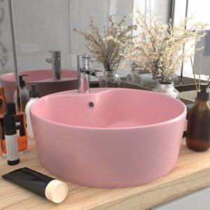 Lavatório com extravasamento 36x13 cm cerâmica rosa mate - PORTES GRÁTIS