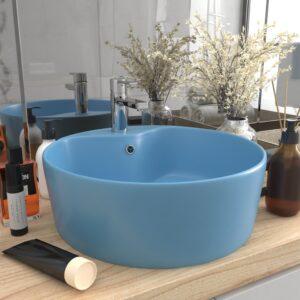 Lavatório com extravasamento 36x13 cm cerâmica azul-claro mate - PORTES GRÁTIS