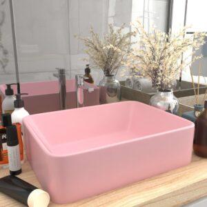 Lavatório luxuoso 41x30x12 cm cerâmica rosa mate - PORTES GRÁTIS