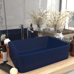 Lavatório luxuoso 41x30x12 cm cerâmica azul-escuro mate - PORTES GRÁTIS