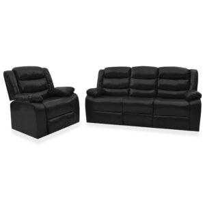 2 pcs conjunto de sofás reclináveis couro artificial preto  - PORTES GRÁTIS
