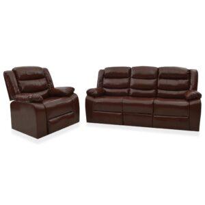 2 pcs conjunto de sofás reclináveis couro artificial castanho - PORTES GRÁTIS