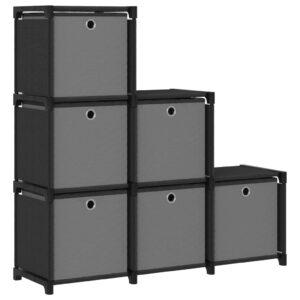 Estante de prateleiras 6 cubos c/ caixas 103x30x72,5cm tecido preto - PORTES GRÁTIS