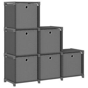 Estante de prateleiras 6 cubos c/ caixas 103x30x72,5cm tecido cinza - PORTES GRÁTIS