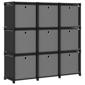 Estante de prateleiras 9 cubos c/ caixas 103x30x107,5cm tecido preto - PORTES GRÁTIS