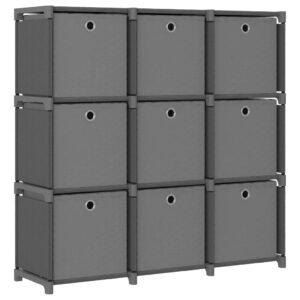 Estante de prateleiras 9 cubos c/ caixas 103x30x107,5cm tecido cinza - PORTES GRÁTIS