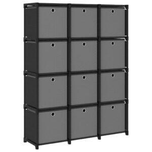 Estante de prateleiras 12 cubos c/ caixas 103x30x141 cm tecido preto - PORTES GRÁTIS