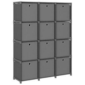 Estante de prateleiras 12 cubos c/ caixas 103x30x141 cm tecido cinza - PORTES GRÁTIS