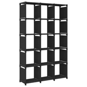 Estante de prateleiras 15 cubos 103x30x175,5 cm tecido preto - PORTES GRÁTIS