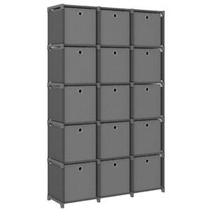 Estante de prateleiras 15 cubos c/ caixas 103x30x175,5cm tecido cinza - PORTES GRÁTIS