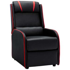 Cadeira reclinável couro artificial preto e vermelho - PORTES GRÁTIS