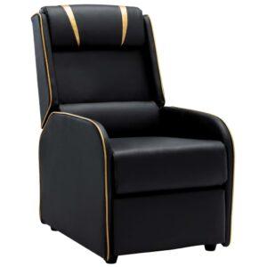 Cadeira reclinável couro artificial preto e dourado - PORTES GRÁTIS