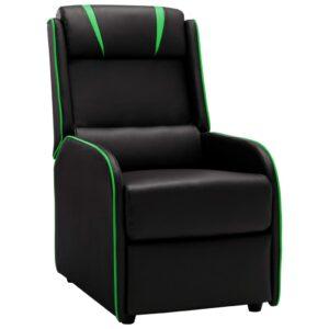 Cadeira reclinável couro artificial preto e verde - PORTES GRÁTIS