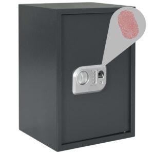Cofre digital com impressão digital cinzento-escuro 35x31x50 cm - PORTES GRÁTIS