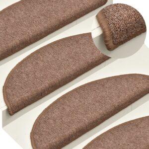 Tapete/carpete para degraus 15 pcs 65x24x4 cm castanho - PORTES GRÁTIS
