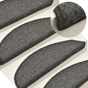 Tapete/carpete para degraus 15 pcs 56x17x3 cm cinza-escuro - PORTES GRÁTIS
