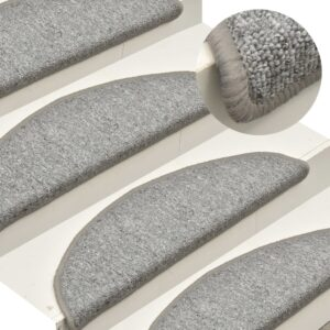 Tapete/carpete para degraus 15 pcs 65x24x4cm cinzento-claro - PORTES GRÁTIS