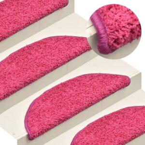 Tapete/carpete para degraus 15 pcs 65x21x4 cm rosa - PORTES GRÁTIS