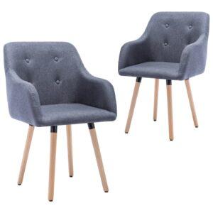 Cadeiras de jantar 2 pcs tecido cinzento-claro - PORTES GRÁTIS
