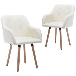 Cadeiras de jantar 2 pcs tecido cor creme - PORTES GRÁTIS