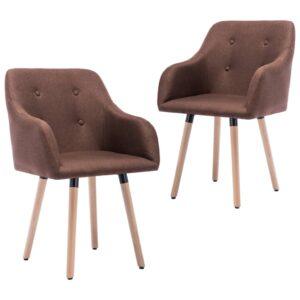 Cadeiras de jantar 2 pcs tecido castanho - PORTES GRÁTIS