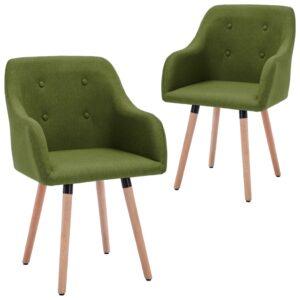 Cadeiras de jantar 2 pcs tecido verde - PORTES GRÁTIS