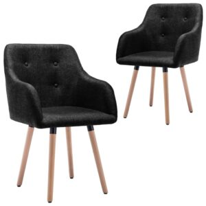 Cadeiras de jantar 2 pcs tecido preto - PORTES GRÁTIS