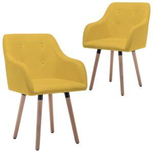 Cadeiras de jantar 2 pcs tecido amarelo mostarda - PORTES GRÁTIS