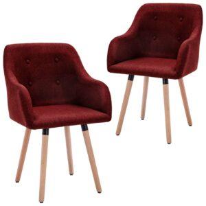 Cadeiras de jantar 2 pcs tecido vermelho tinto - PORTES GRÁTIS