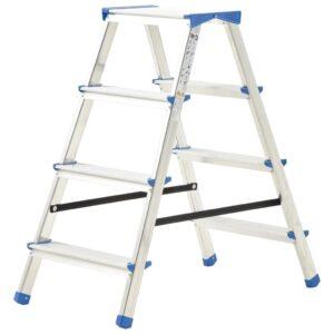 Escada dupla de alumínio 4 degraus 90 cm - PORTES GRÁTIS