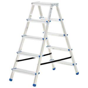 Escada dupla de alumínio 5 degraus 113 cm - PORTES GRÁTIS