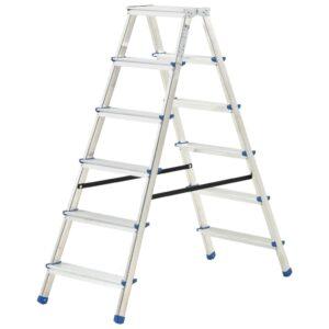 Escada dupla de alumínio 6 degraus 136 cm - PORTES GRÁTIS