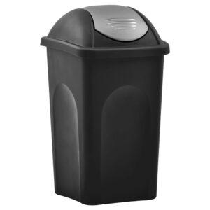 Caixote do lixo com tampa basculante 60 L preto e prateado - PORTES GRÁTIS