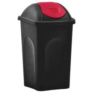 Caixote do lixo com tampa basculante 60 L preto e vermelho - PORTES GRÁTIS