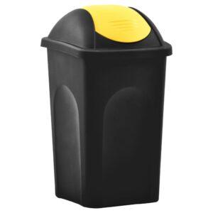 Caixote do lixo com tampa basculante 60 L preto e amarelo - PORTES GRÁTIS
