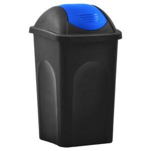 Caixote do lixo com tampa basculante 60 L preto e azul - PORTES GRÁTIS
