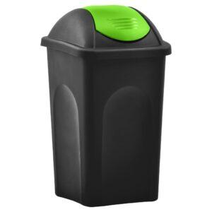 Caixote do lixo com tampa basculante 60 L preto e verde - PORTES GRÁTIS