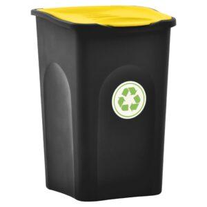 Caixote do lixo com tampa articulada 50 L preto e amarelo - PORTES GRÁTIS