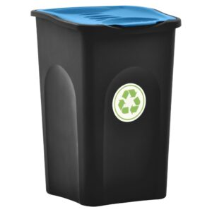 Caixote do lixo com tampa articulada 50 L preto e azul - PORTES GRÁTIS