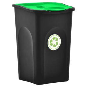 Caixote do lixo com tampa articulada 50 L preto e verde - PORTES GRÁTIS