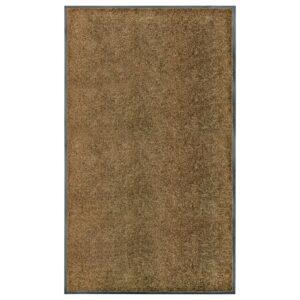 Tapete de porta lavável 90x150 cm castanho - PORTES GRÁTIS