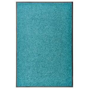Tapete de porta lavável 60x90 cm azul ciano - PORTES GRÁTIS