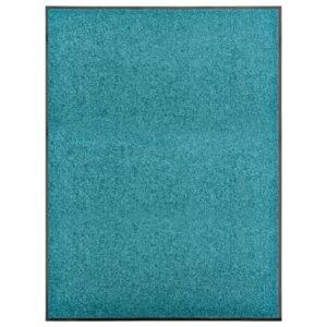 Tapete de porta lavável 90x120 cm azul ciano - PORTES GRÁTIS
