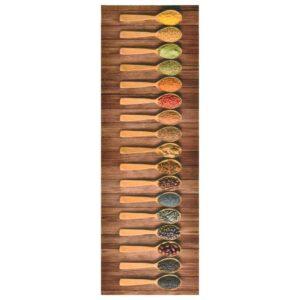 Tapete de cozinha lavável com design de colheres 45x150 cm - PORTES GRÁTIS