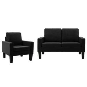 2 pcs conjunto de sofás couro artificial preto  - PORTES GRÁTIS